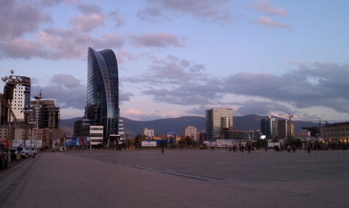 The Blue Sky Tower dominates the southern end of Sukhbaatar Square