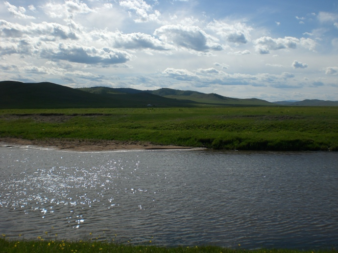 Typical river in my home province of Khentii.  Water moves at a trickle or a torrent depending on the season.