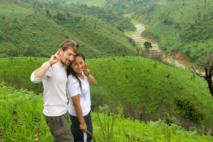 La and I in her family's rice farm.